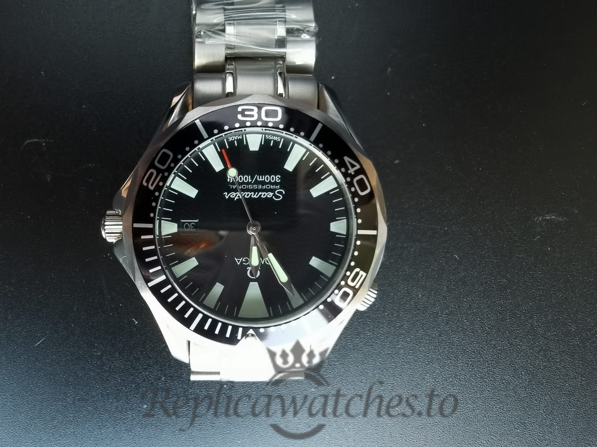 Omega Seamaster 2254.50.00 Stainless Steel And Black For Men 41 Mm Watch