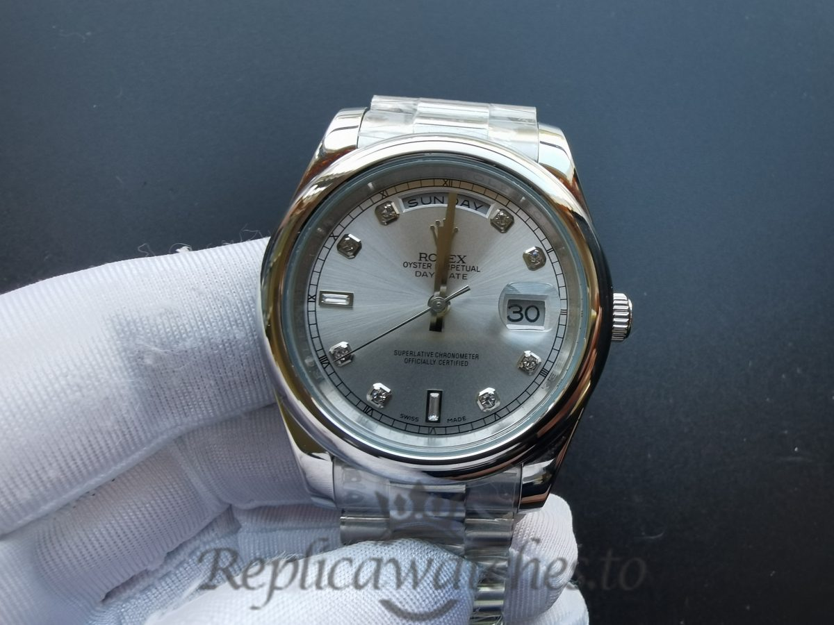 Rolex Day-date 218239 316 Grade Stainless Steel And Silver Baton 28 Mm For Women Watch