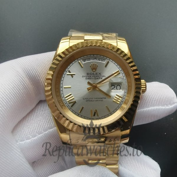 Rolex Day-Date 218238 18K Yellow Gold Fluted Bezel41 Mm For men Watch