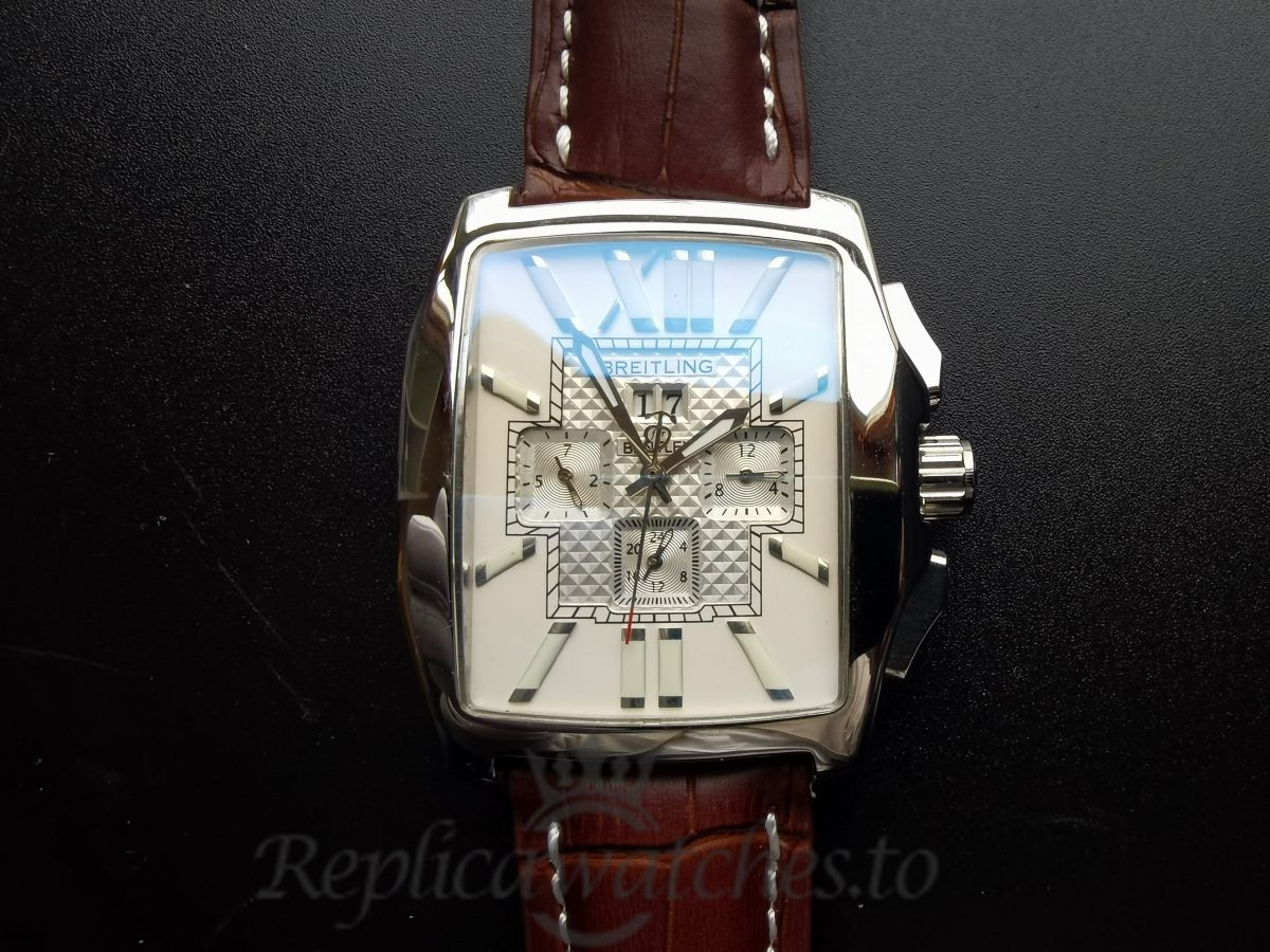 Breitling Breity 116710ln Leather And Silver For Men 40 Mm Watch