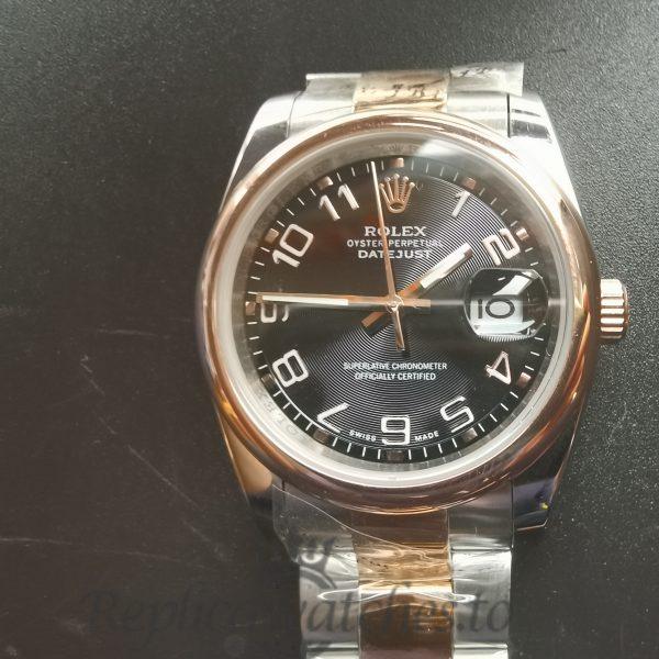 Rolex Datejust 116201 36 Mm Stainless Steel Rose Gold Bezel For Men Watch