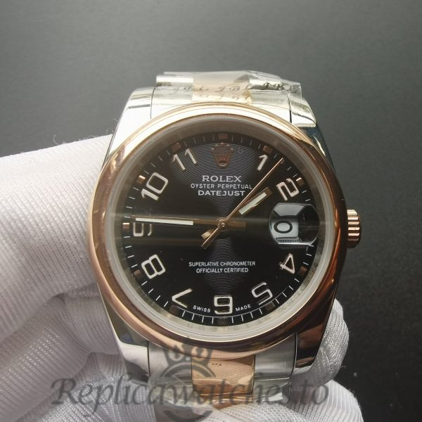 Rolex Datejust 116201 36 Mm Stainless Steel Rose Gold Bezel For Men Watch