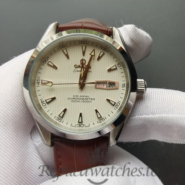 Omega Aqua Terra 231.13.43.22.02.002 43mm Silver Dial Red Leather With Pattern For Men Watch