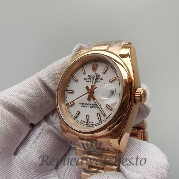 Rolex Datejust 4467 White Dial And 18k Rose Gold 36mm For Men Watch