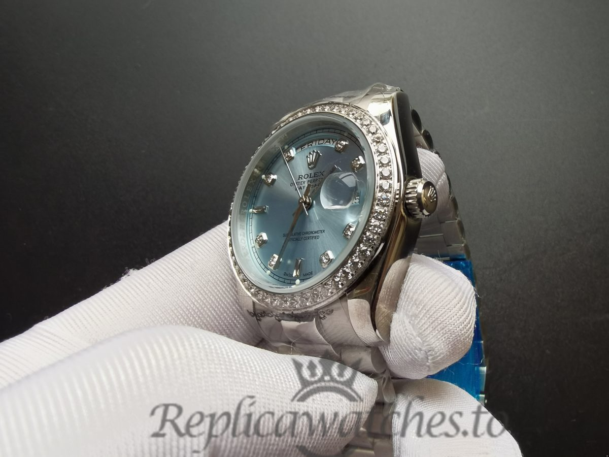 Rolex Day-date 118346 36mm Stainless Steel And Ice Blue For Men Watch