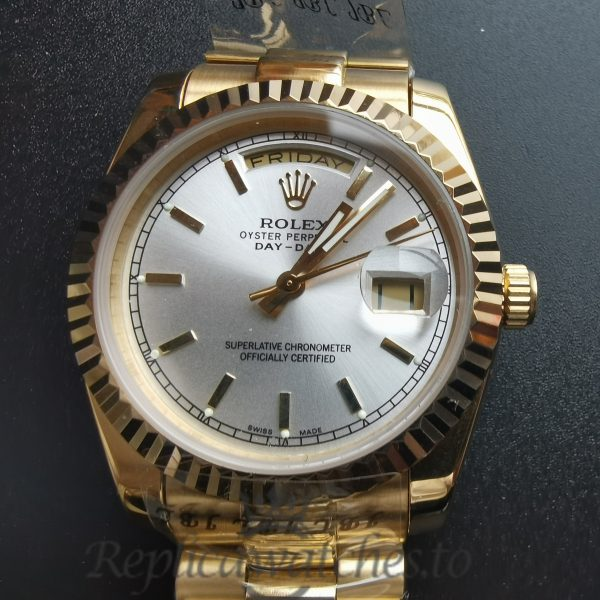 Rolex Day-date 18238 White Dial Yellow Gold 36mm For Men Watch