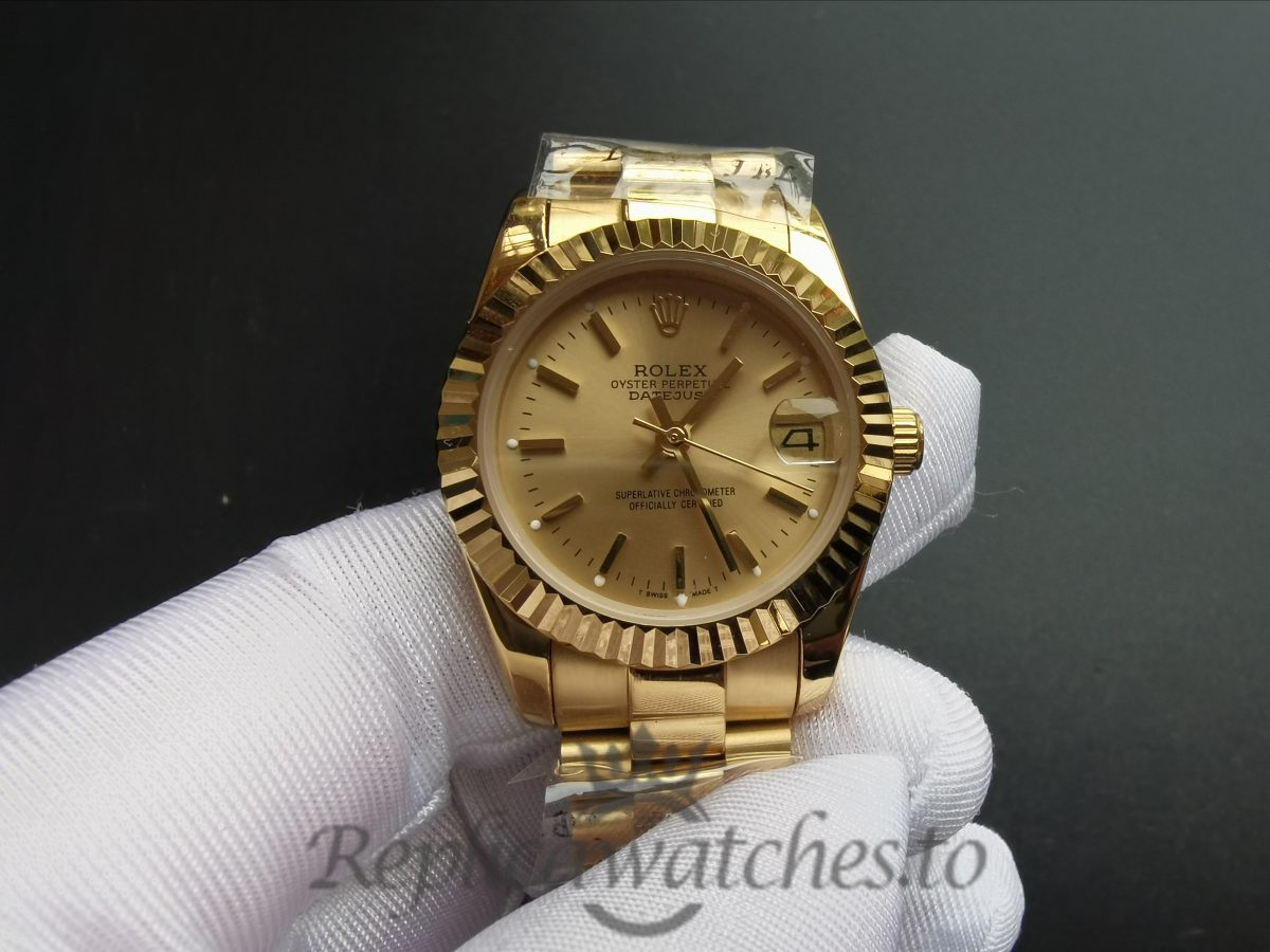 Rolex Datejust 31mm 68278 Yellow Gold Bracelet And Gold Dial For Women Watch