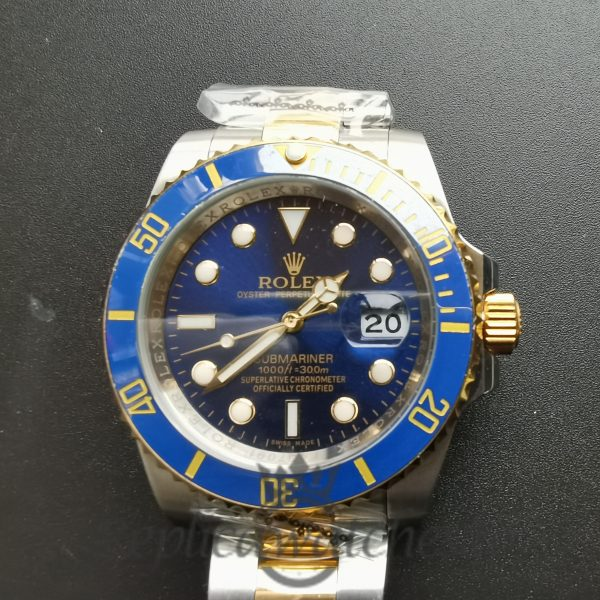 Rolex Submariner 40mm 16613 18k Yellow Gold Bezel Blue Dial For Men Watch