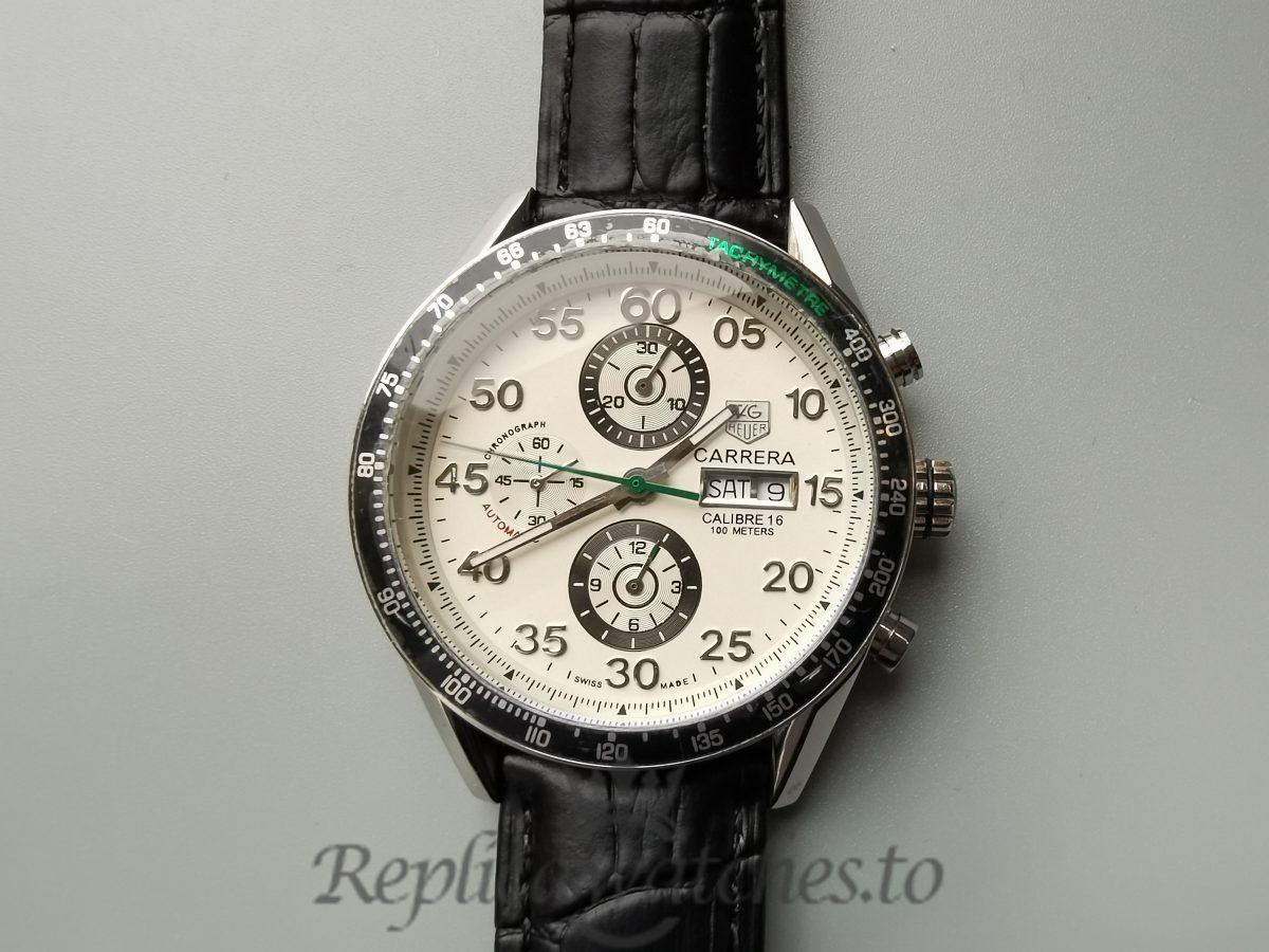 Tag Heuer Carrera 44mm Pr1146 Brushed Stainless Steel White Dial For Men Watch