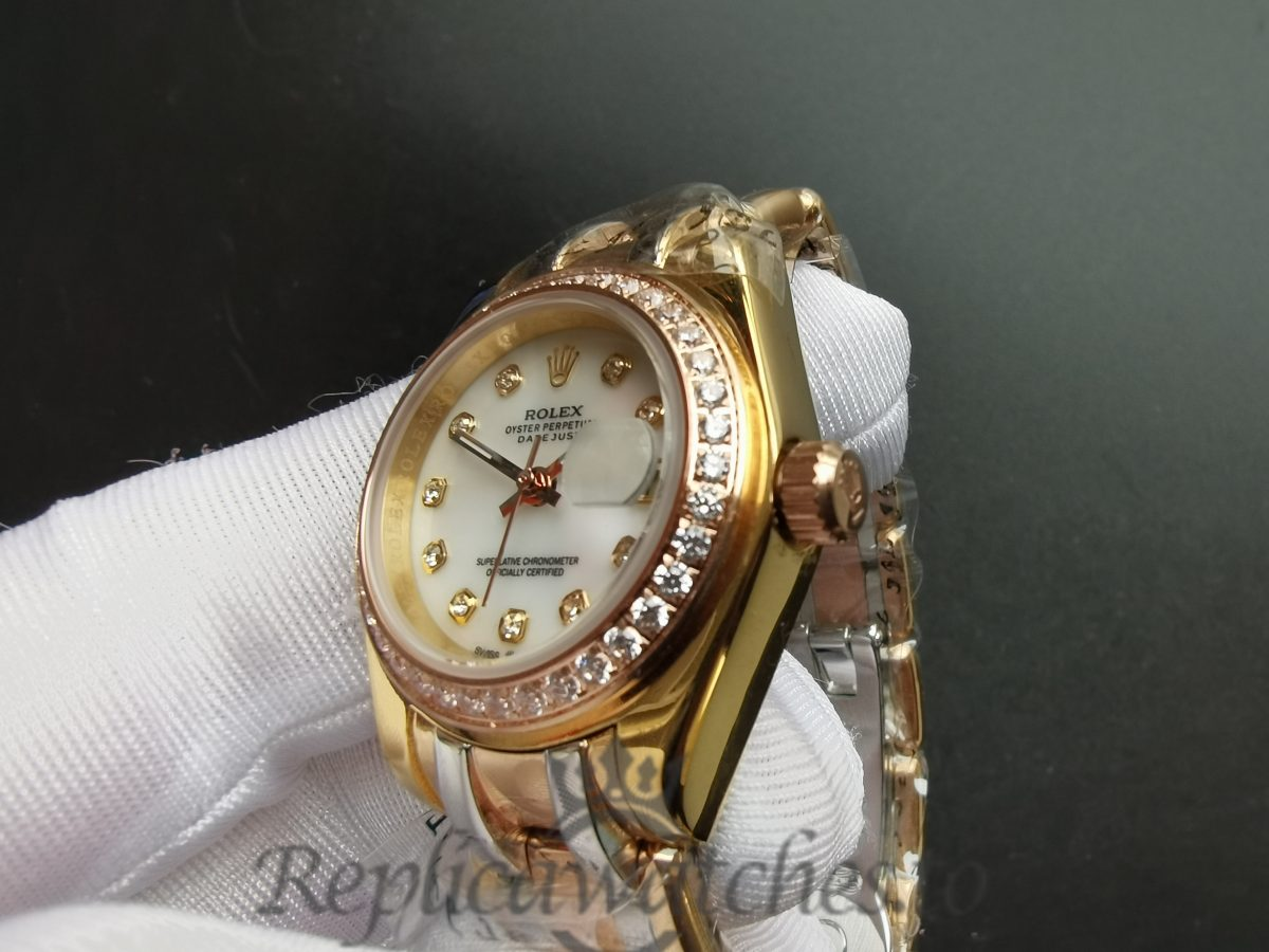 Rolex Datejust 80299 18k Gold Oyster And White Dial 29mm For Women Watch
