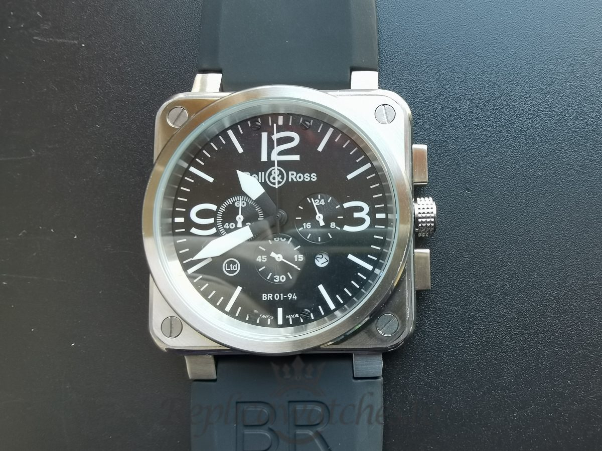 Franck Bell Ross Br 01-94 Leather, Rubber And Black Dial For Men 46mm Watch