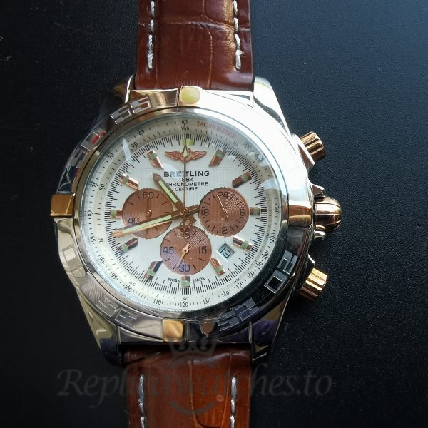 Breitling Chronomat Bg074 Stainless Steel With Gold And Leather For Men 46mm Watch