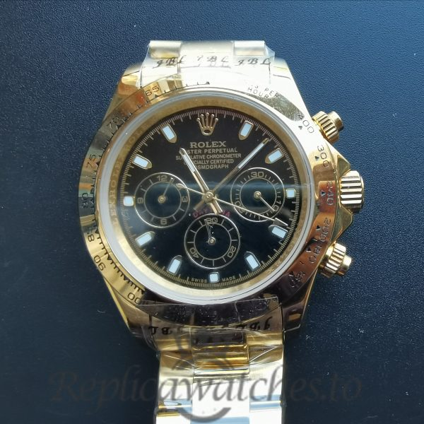 Rolex Daytona 40mm White Dial And Yellow Gold For Men Watch