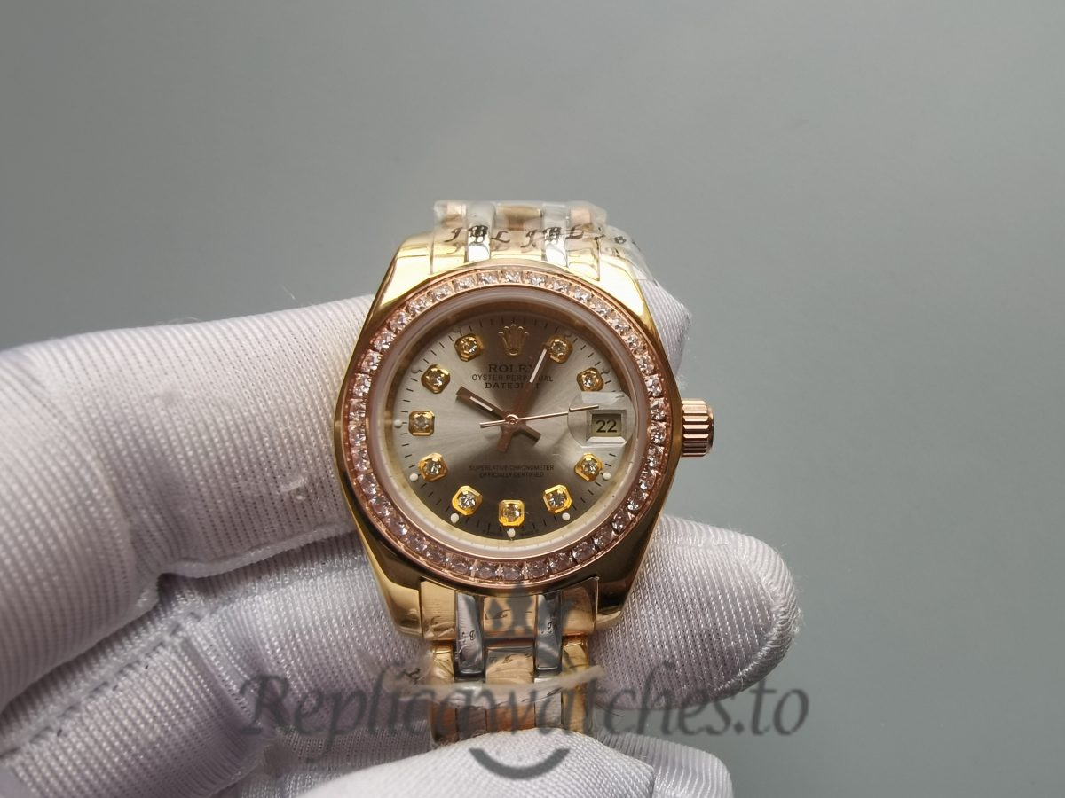 Rolex Pearlmaster Champagne Diamond And Yellow Gold 29mm For Women Watch