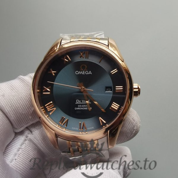 Omega De Ville Hour Vision 41mm Rose gold and white gold Green Dial For Men Watch