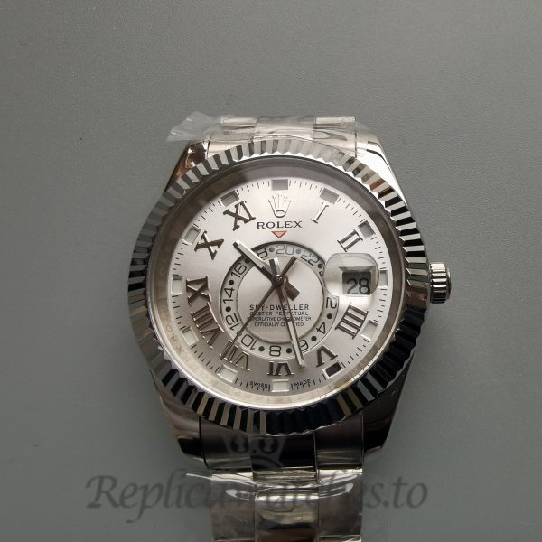 Rolex Sky-dweller 42mm Ivory Dial And 18k White Gold For Men Watch