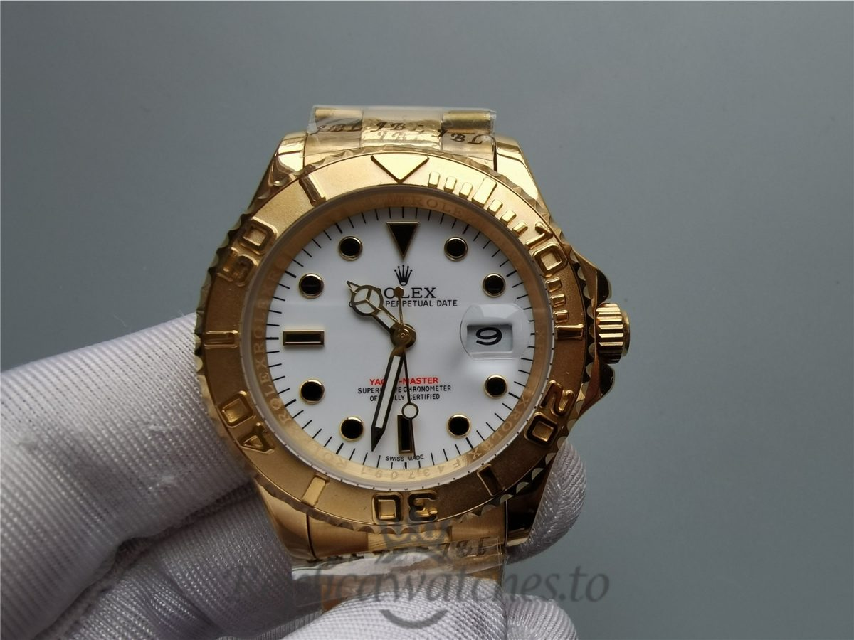 Rolex Yacht-master 40mm White Dial And 18k Yellow Gold And For Men Watch