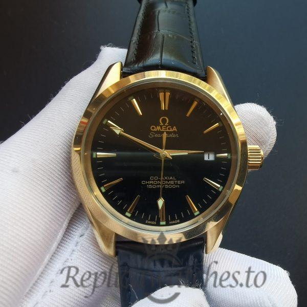 Omega Aqua Tera 35mm Crocodile – Black Yellow Gold For Women Watch
