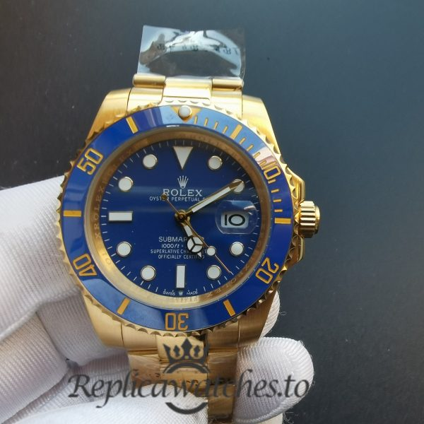 Rolex Submariner 116618lb Blue Dial 18kt And Yellow Gold Case 40 Mm For Men Watch