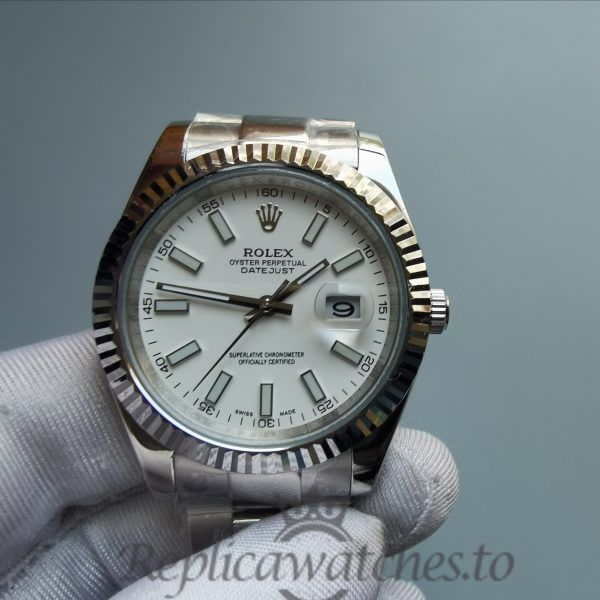 Rolex Datejust 116300 41mm Stainless Steel White Baton Dial For Men Watch