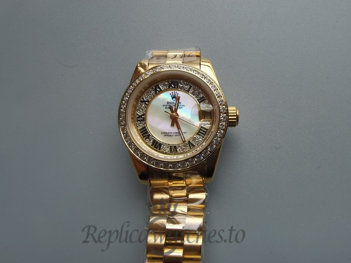 Rolex Datejust 28mm Jubilee 18k Yellow Gold Plated Stainless Steel For Women Watch