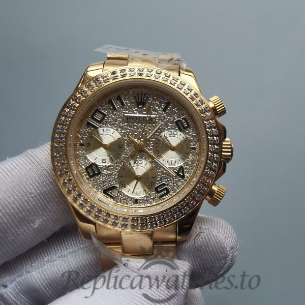 Rolex Daytona Rdt028 35 Mm 18k Yellow Gold Plated Stainless Steel For Women Watch