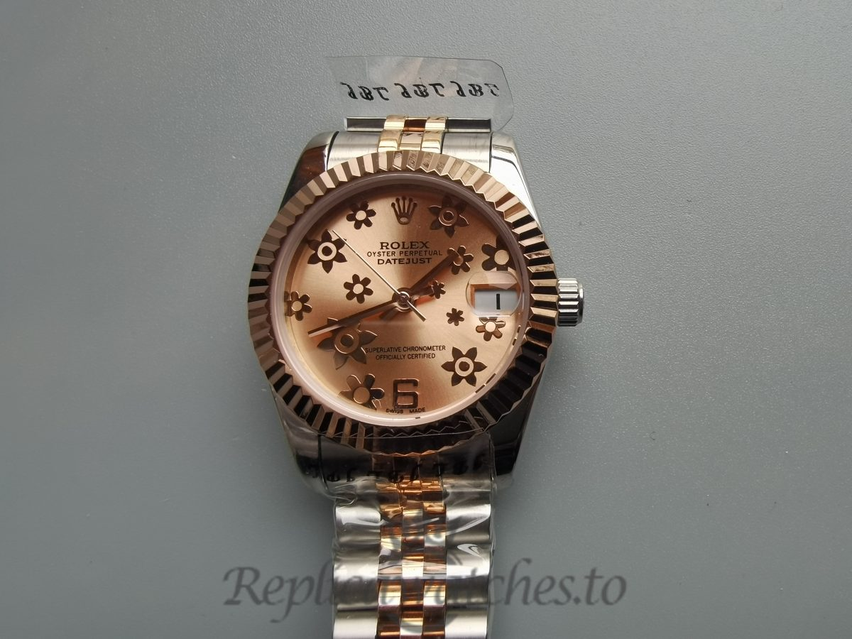Rolex Datejust 178271 31mm 18k Rose Gold And Pink Flower Dial For Women Watch