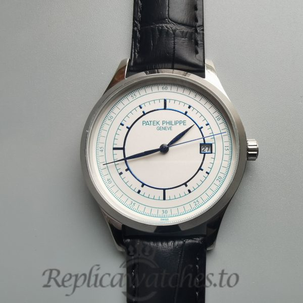 Patek Philippe Calatrava 5296g 38mm Leather White Gold Silver For Men Watch